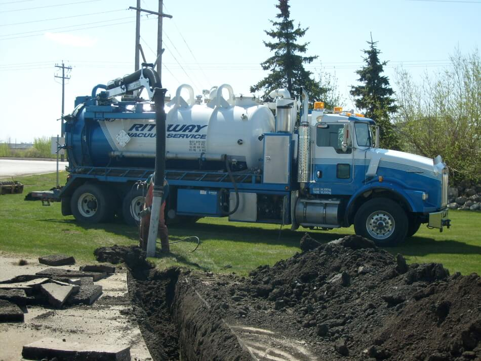 edmonton hydro excavation truck exposing underground utilities